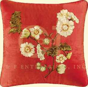 Florentine Silk Embroidered Pillow 18 x18 Inches Brand C&F