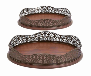 Flower Patterned Customary Wood Metal Tray Brand Benzara