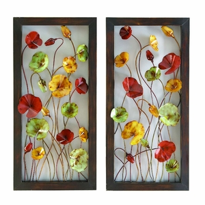 Flower World Unique Metal Wall Decor Sculpture - Set of 2 Brand Woodland