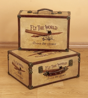 Fly the World Exclusive Wood Boxes with Fine Detailing - Set of 2 Brand Woodland