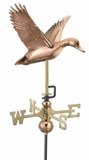 Flying Duck Garden Weathervane - Polished Copper w/Roof Mount by Good Directions