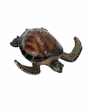 Flying Mosaic Turtle Statue Sculpture with Intricate Detailing Brand Woodland