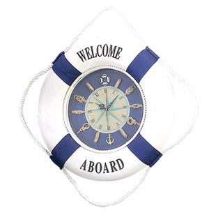 Foam Lifesaver Clock in Blue & White Finish with Modern Design Brand Woodland