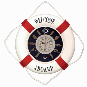 Foam Lifesaver Clock in Round Shaped with Artistic Designs Brand Woodland