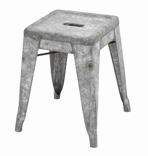 Foggia Stool Sparklingly Galvanized Tough And Trendy Creation Brand Benzara