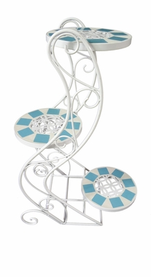 Foldable White Iron Plant Stand with Blue Tile Trim by Alpine Corp