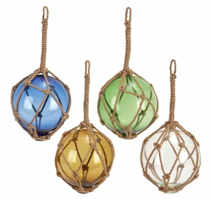 Four Glass Rope Floats in Multi-Colours with Distinguished Look Brand Woodland