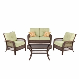 Four Piece Wicker Sitting Set with Cushions by Southern Enterprises