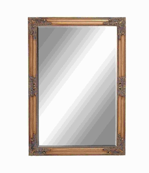 Framed Beveled Mirror in Intricate Baroque Style accents Brand Woodland