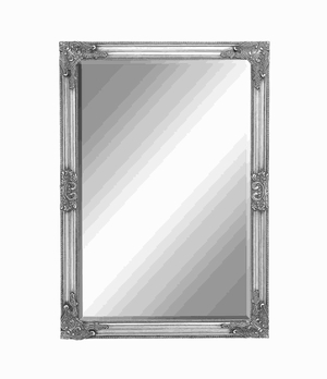 Framed Beveled Mirror with Baroque Style Leaf and Floral accents Brand Woodland