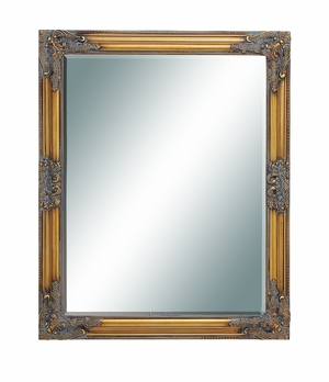 Framed Beveled Mirror with Dull Gold Polish and Weathered accent Brand Woodland