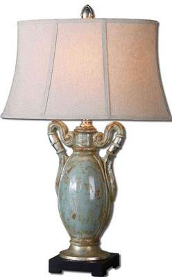 Francavilla Crackle Blue Table Lamp with Leaf Detailing Brand Uttermost