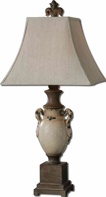 Francavilla Ivory Table Lamp with Rust Bronze Detailing Brand Uttermost