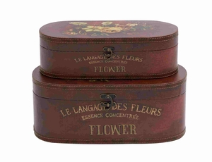Francisco Floral Wood Leather Box Brand Benzara