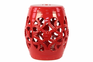 Francisco's Ceramic Garden Stool Open-Work Red by Urban Trends Collection