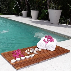 Francisco Unique Styled Le spa Teak Floor Mat by Infinita