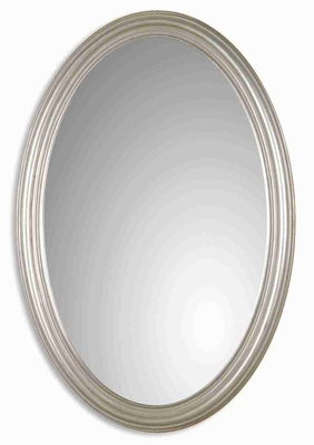 Franklin Oval Vanity Wall Mirror with Antique Silver Leaf Finish Brand Uttermost
