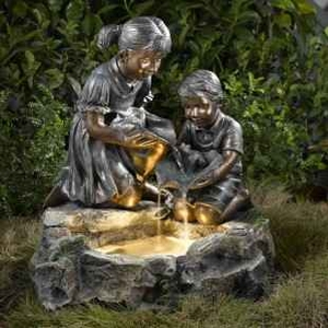 Fratelli Siblings Rock Outdoor/Indoor Fountain with Light Brand Zest