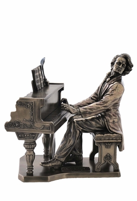 Frederic Chopin Statue with Piano & Cold Cast Bronze Construction Brand Unicorn Studio