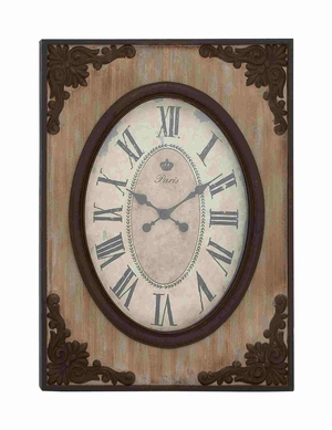 Country Style Wood Wall Clock - 18102 by Benzara