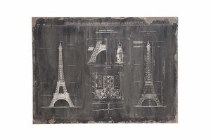 French Canvas Art, Eiffel Tower, 48 Inch x 36 Inch Brand Woodland