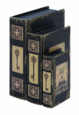French Capital Themed Book Box Set In Antique Black Wood Brand Woodland