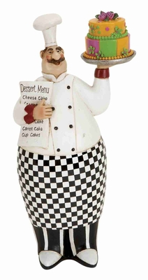 French Chef Holding Cake and Menu Crafted in Cold Cast Resin Brand Woodland