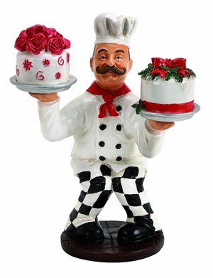 French Chef Holding Cakes in Both Hands