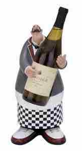 French Chef Wine Bottle Holder, Fat Chef Statue 14 Inch x 7 Inch Brand Woodland