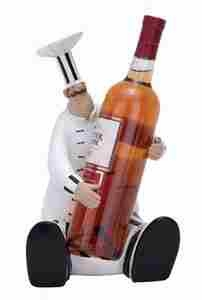 French Chef Wine Holder, Fat Chef Bottle Holder, 12 Inch x 7 Inch Brand Woodland