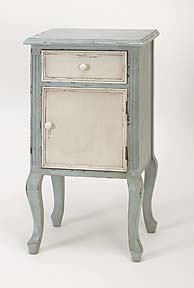 French Decor Antiqued Phone Stand Cabinet with 2 Drawers Brand Woodland