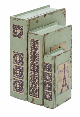 French Eiffel Tower Themed Book Box Set In Antique White Wood Brand Woodland