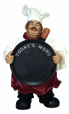 French Fat Chef with Today's Menu Chalk Sign Board, Chef Menu Board Brand Woodland