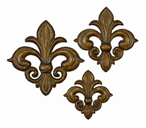 French Fleur Li Dis Metal Wall Decor Sculpture - Set of 3 Brand Woodland
