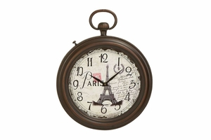 French Metal Wall Clock, 26 Inch Height, 21 Inch Width Brand Woodland