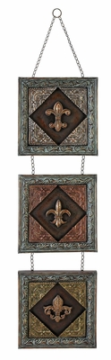 French Metal Wall Decor, Hanging Fleur-de-lis Designs, 47 Inch x 11 Inch Brand Woodland