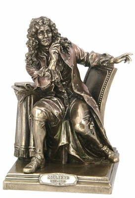 French Playwright Moliere's Statue in Cold Cast Bronze Brand Unicorn Studio