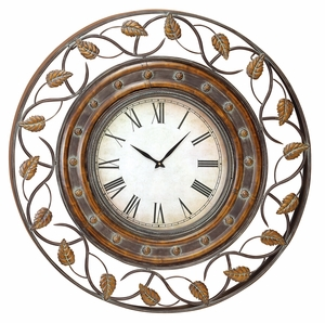 French Quarter Metal Art Decor Wall Clock with Textured in Green Brand Woodland