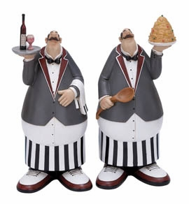 French Waiter 2 Assorted, Chef Party Decor 16 Inch x 7 Inch Brand Woodland