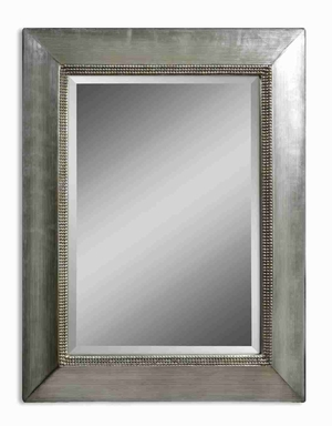 Fresno Wall Mirror with Antiqued Scratched Silver Finish Brand Uttermost
