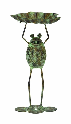 Frog Rustic Metal Bird Feeder Garden Decor with Metal Stand Brand Woodland
