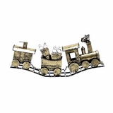 """Frosty Metal Golden Snow Covered X'mas Train 29""""W, 13""""H by Woodland Import"""