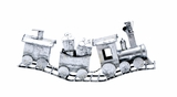 "Frosty Metal Xmas Silver Snow Covered Train 29""W, 13""H by Woodland Import"