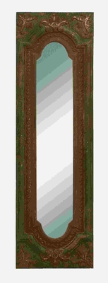 Full Length Mirror - Antique Looking Glass With Rustic Wood Frame Brand Woodland