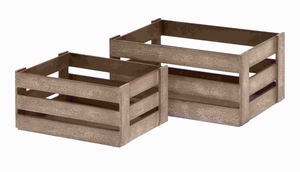 Fully Functional Wood Crate Glazed with Brown Color (Set of 2) Brand Woodland