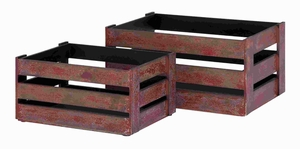 "Fully Functional Wood Crate S/2 20"", 16""W with Rustic Finish Brand Woodland"