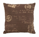 Fun And Clever Brown And Tan Paris Postcard Themed Pillow Brand Woodland