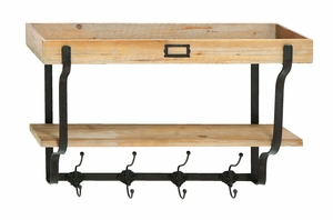 Functional Wood And Iron Wall Shelf And Hooks Brand Woodland