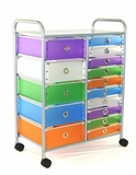 Funky Multicolored fifteen Drawer Metal Rolling Stand by 4D Concepts