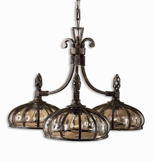 Galeana 3 Light Chandelier With Hand Made Glass and Iron Brand Uttermost